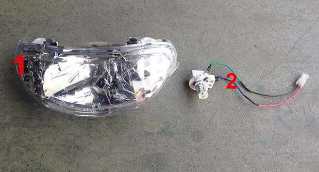 Luxury Cruiser Headlight Bulb and Shell Set